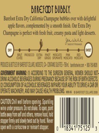 Barefoot Bubbly Extra Dry Champagne 750ML image number 4